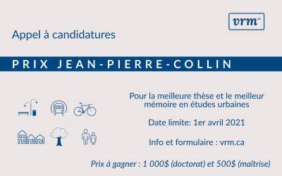 Appel à candidatures – Prix Jean-Pierre-Collin