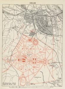 Plan de la nouvelle Dehli Impériale par Edwin Lutyens 1910-1912. Source : Encyclopedia Britannica 11e Édition