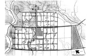 Plan de Chandigarh, nouvelle capitale du Punjab indien, Le Corbusier – 1951. Image libre de droits.